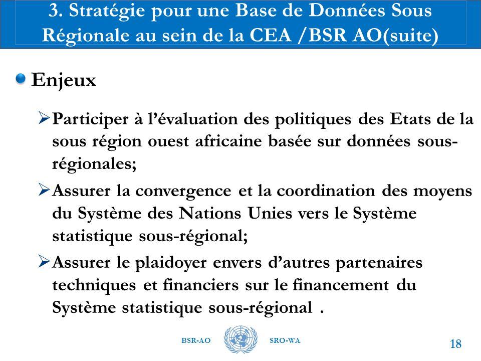 3. Stratégie pour une Base de Données Sous Régionale au sein de la CEA /BSR AO(suite)