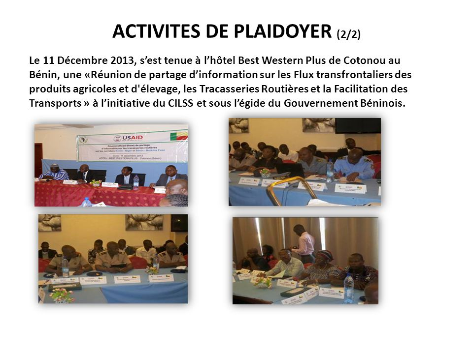 ACTIVITES DE PLAIDOYER (2/2)