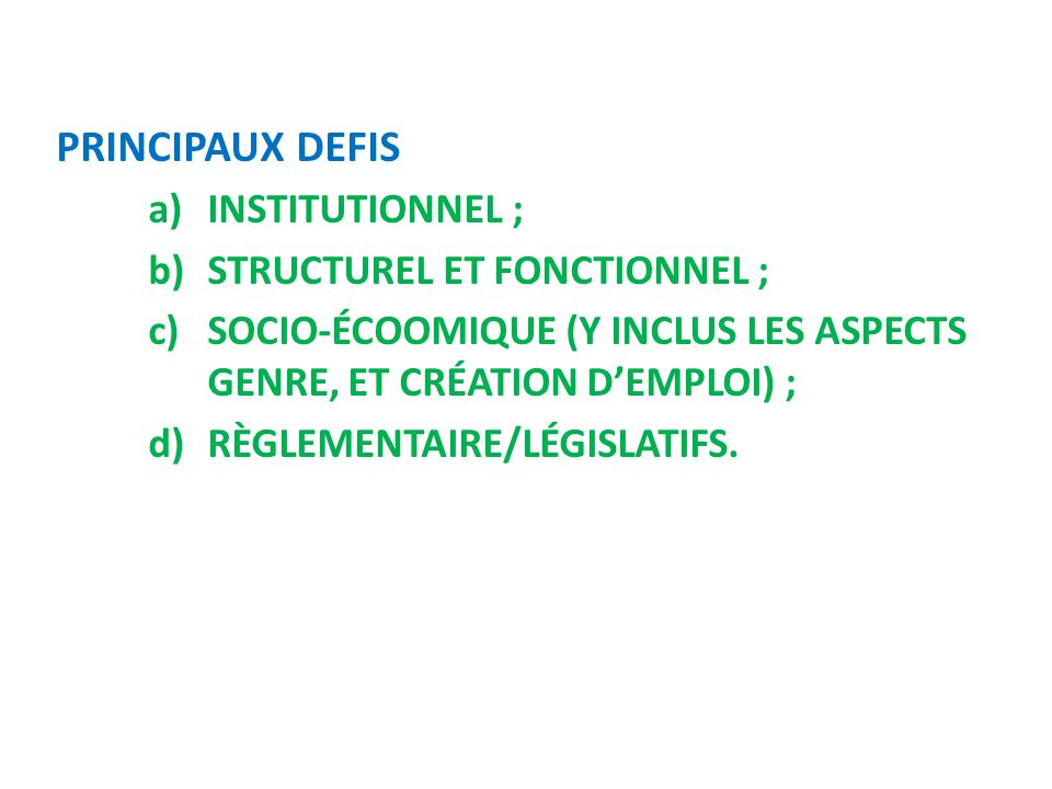 PRINCIPAUX DEFIS Institutionnel ; Structurel et fonctionnel ;