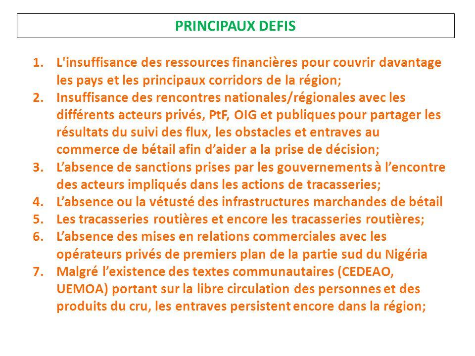 PRINCIPAUX DEFIS L insuffisance des ressources financières pour couvrir davantage les pays et les principaux corridors de la région;