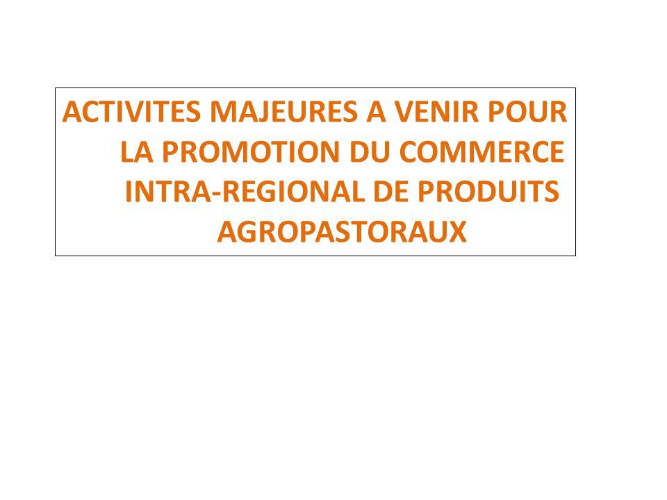 ACTIVITES MAJEURES A VENIR POUR LA PROMOTION DU COMMERCE INTRA-REGIONAL DE PRODUITS AGROPASTORAUX