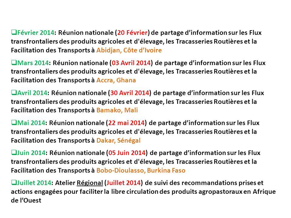 Février 2014: Réunion nationale (20 Février) de partage d'information sur les Flux transfrontaliers des produits agricoles et d élevage, les Tracasseries Routières et la Facilitation des Transports à Abidjan, Côte d'Ivoire