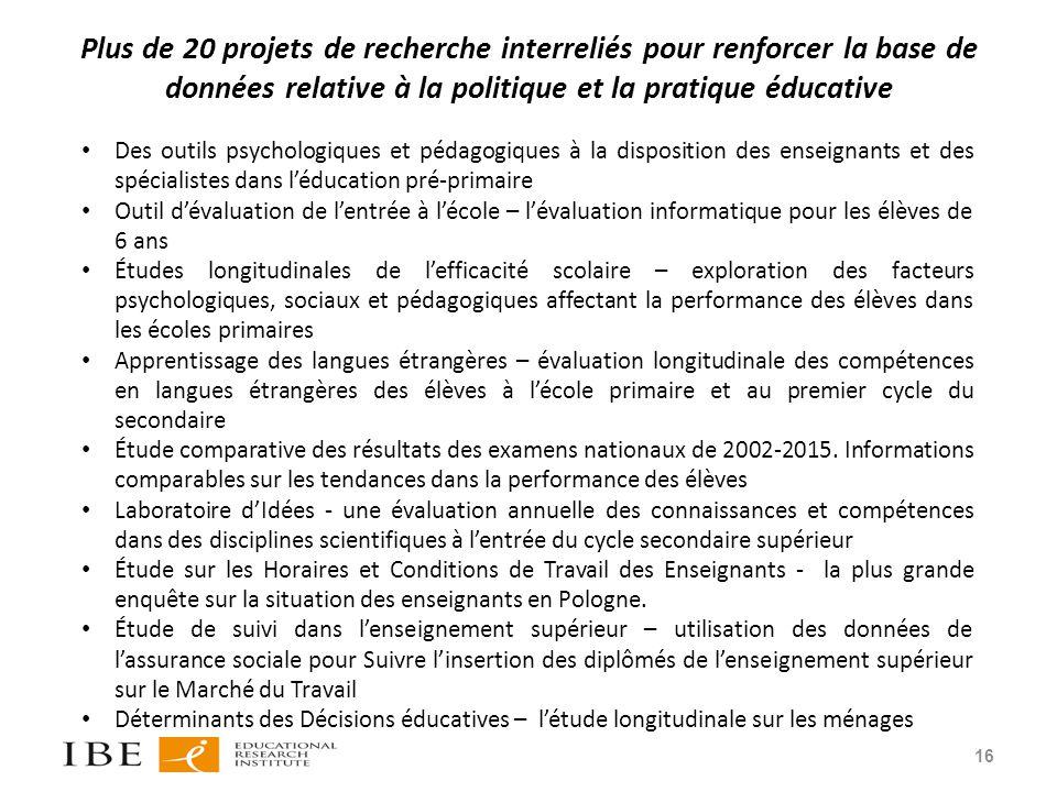 Plus de 20 projets de recherche interreliés pour renforcer la base de données relative à la politique et la pratique éducative