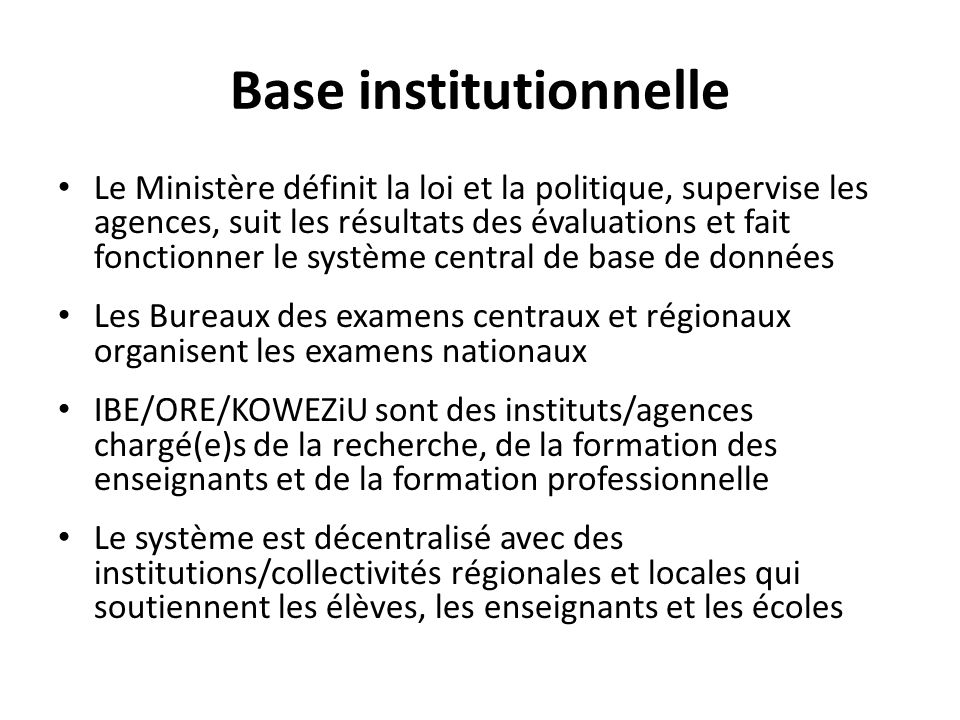 Base institutionnelle