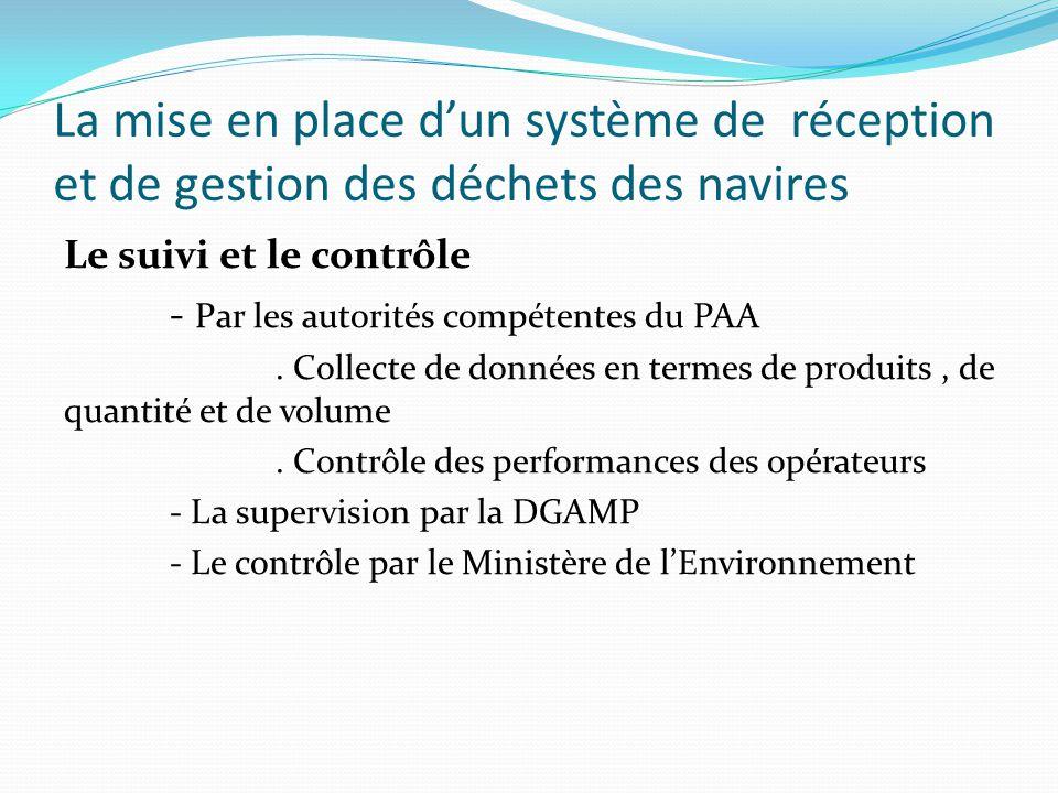 La mise en place d'un système de réception et de gestion des déchets des navires
