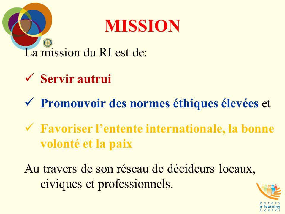MISSION La mission du RI est de: Servir autrui
