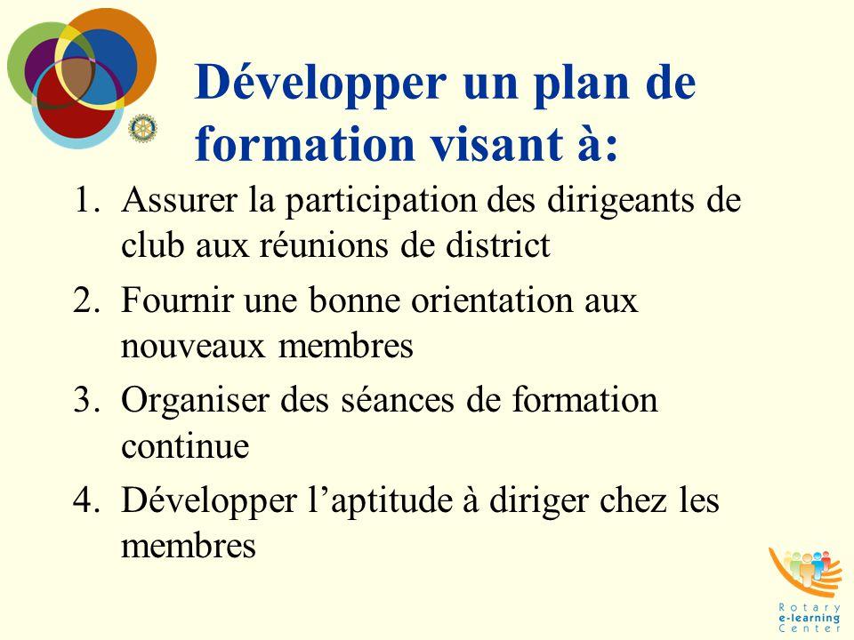 Développer un plan de formation visant à:
