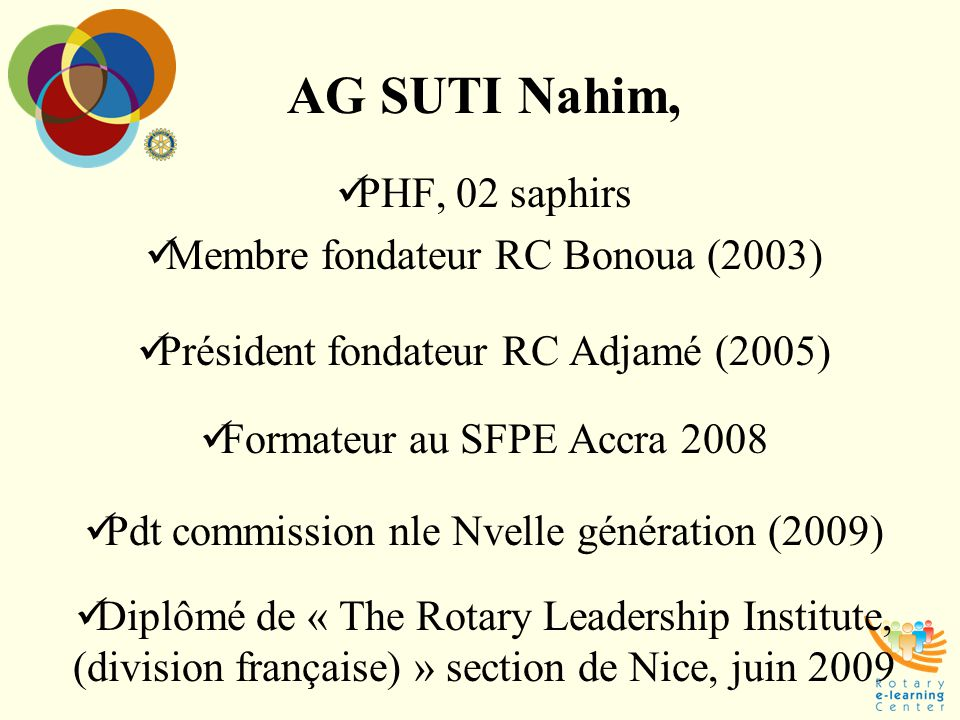 AG SUTI Nahim, PHF, 02 saphirs Membre fondateur RC Bonoua (2003)