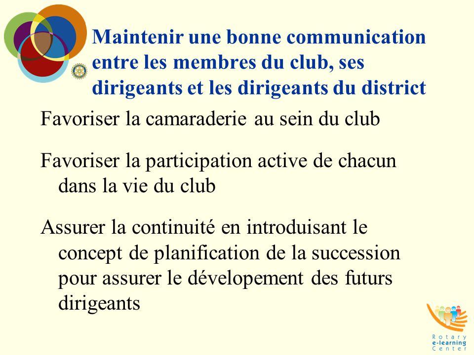 Maintenir une bonne communication entre les membres du club, ses dirigeants et les dirigeants du district