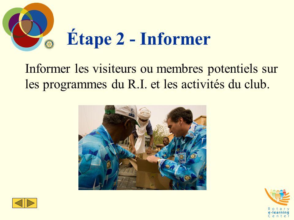 Étape 2 - Informer Informer les visiteurs ou membres potentiels sur les programmes du R.I.