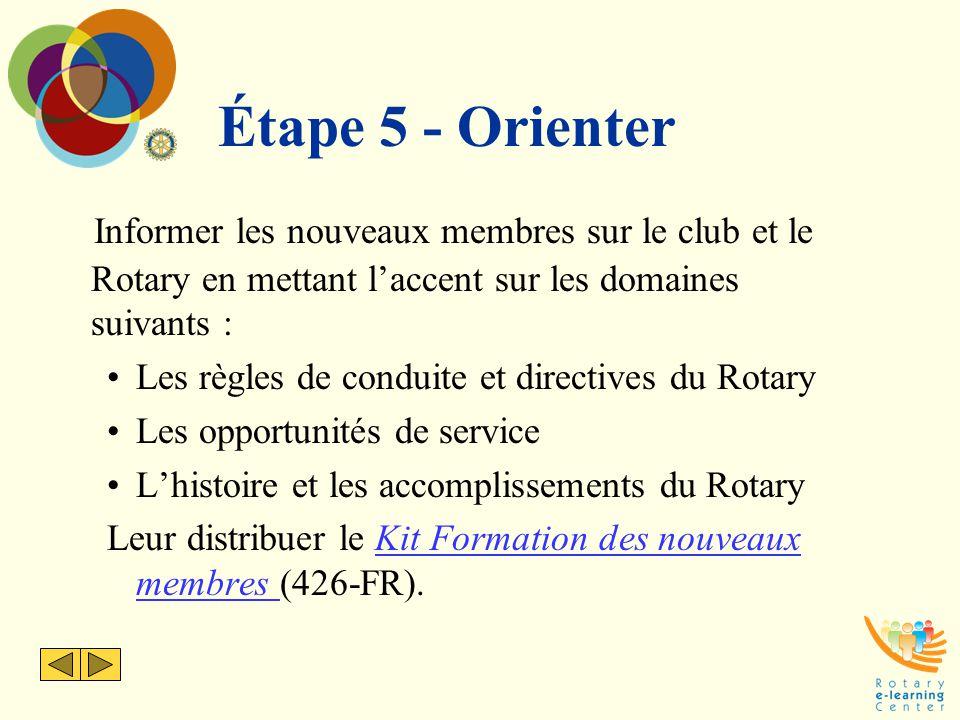 Étape 5 - Orienter Informer les nouveaux membres sur le club et le Rotary en mettant l'accent sur les domaines suivants :