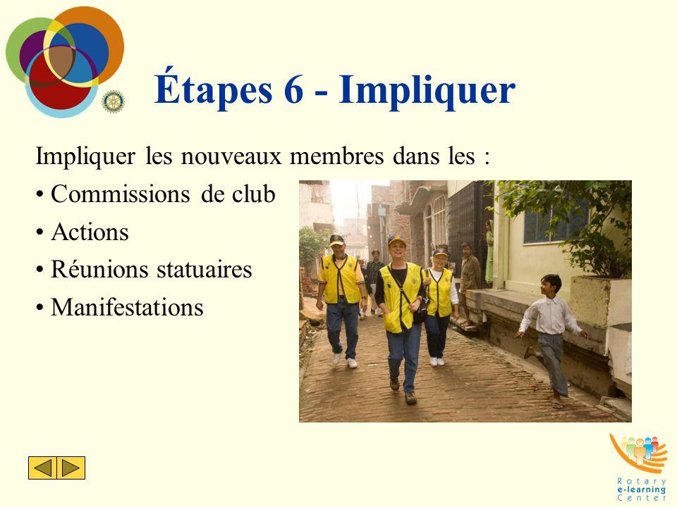 Étapes 6 - Impliquer Impliquer les nouveaux membres dans les :