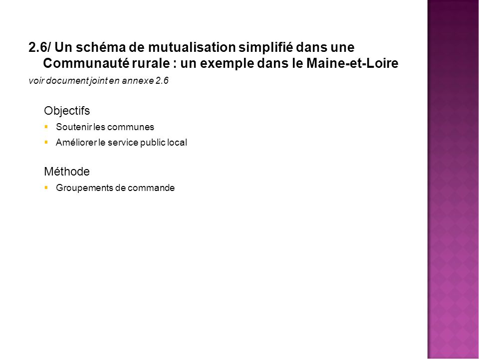 Mutualisa 2.6/ Un schéma de mutualisation simplifié dans une Communauté rurale : un exemple dans le Maine-et-Loire.