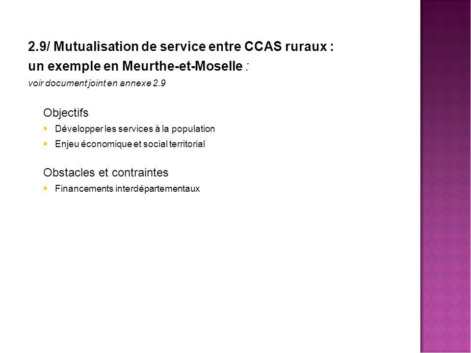 2.9/ Mutualisation de service entre CCAS ruraux :