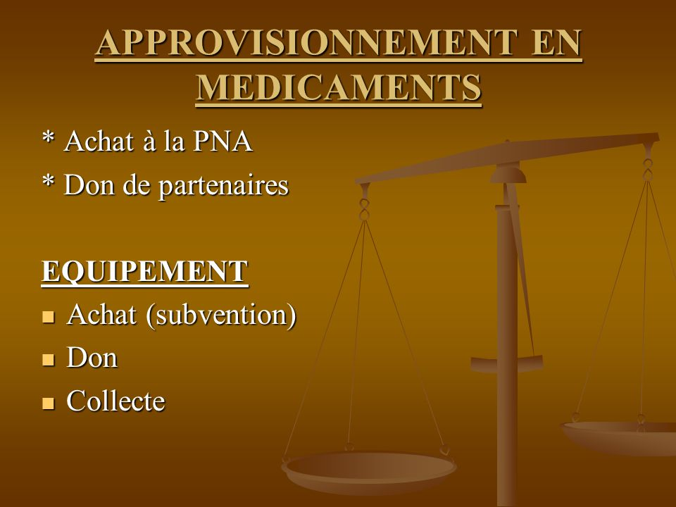 APPROVISIONNEMENT EN MEDICAMENTS