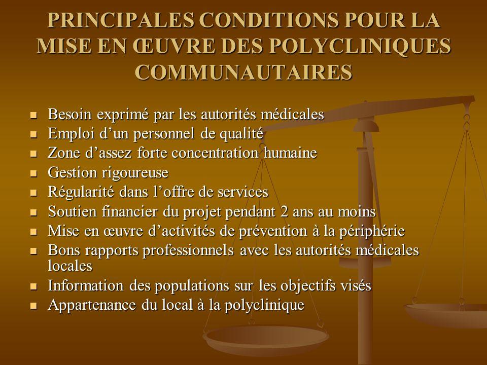 PRINCIPALES CONDITIONS POUR LA MISE EN ŒUVRE DES POLYCLINIQUES COMMUNAUTAIRES