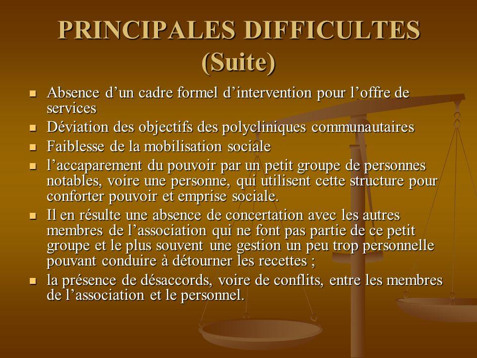 PRINCIPALES DIFFICULTES (Suite)