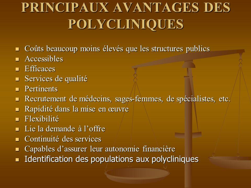 PRINCIPAUX AVANTAGES DES POLYCLINIQUES
