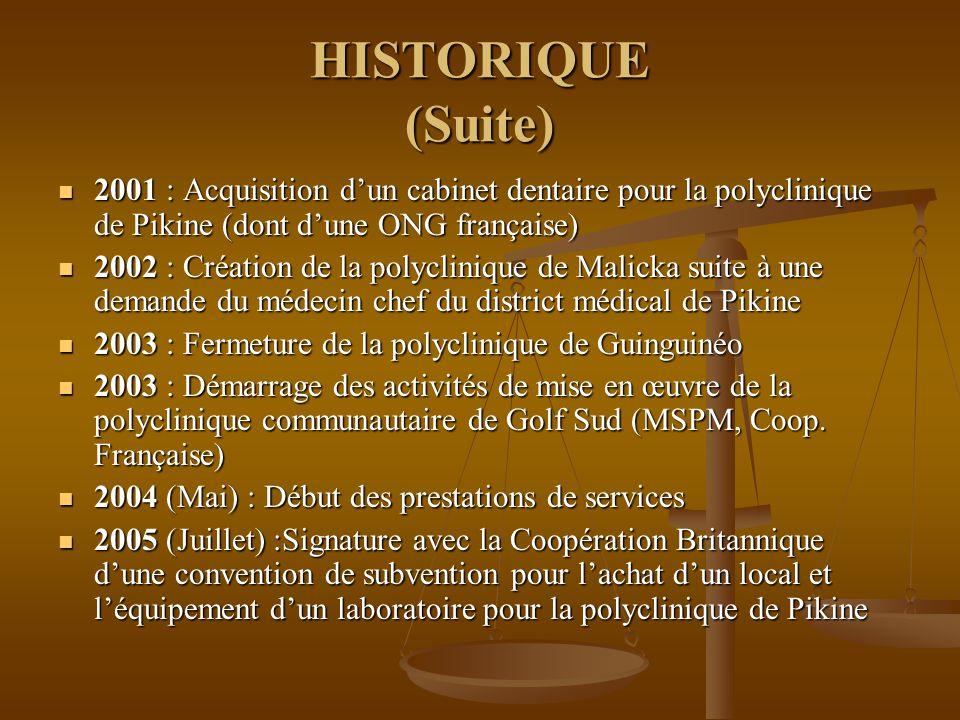 HISTORIQUE (Suite) 2001 : Acquisition d'un cabinet dentaire pour la polyclinique de Pikine (dont d'une ONG française)