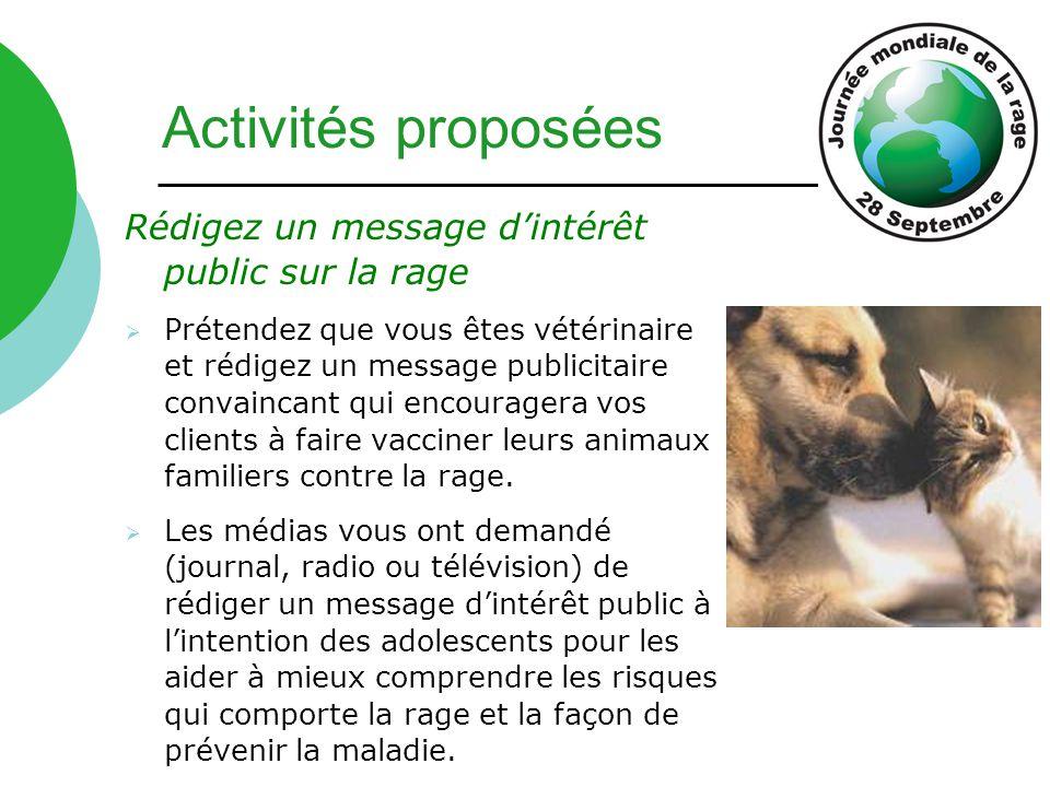 Activités proposées Rédigez un message d'intérêt public sur la rage