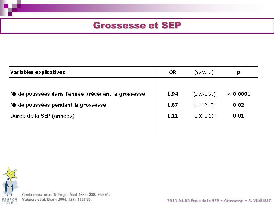 Grossesse et SEP Confavreux et al. N Engl J Med 1998; 339: 285-91.