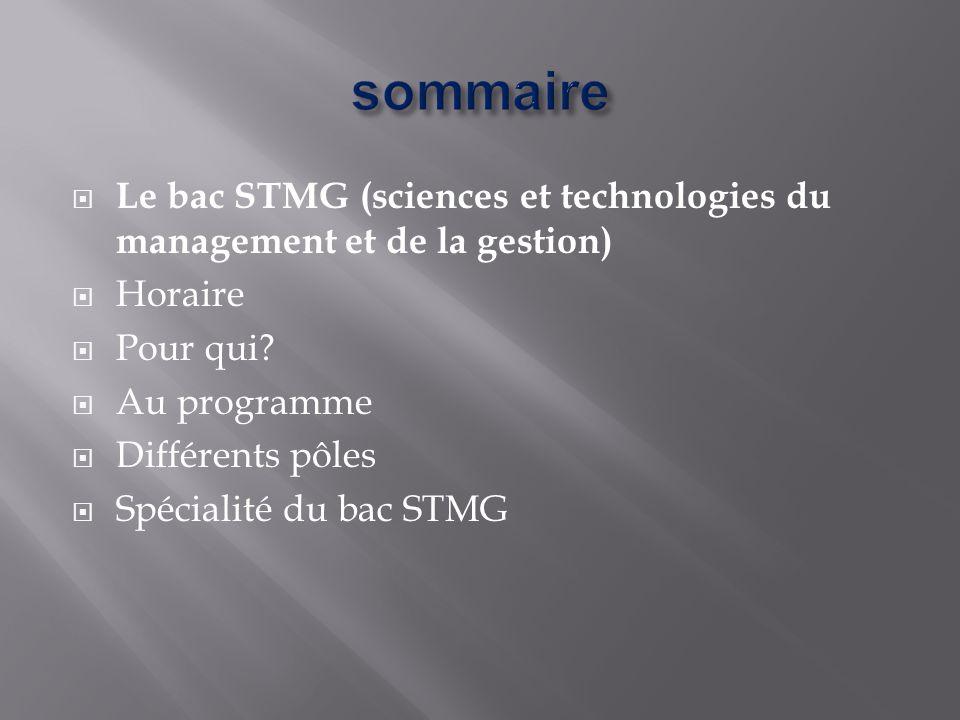 sommaire Le bac STMG (sciences et technologies du management et de la gestion) Horaire. Pour qui