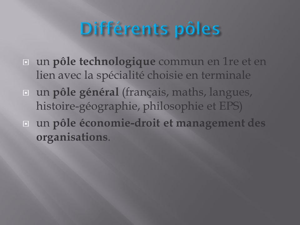 Différents pôles un pôle technologique commun en 1re et en lien avec la spécialité choisie en terminale.
