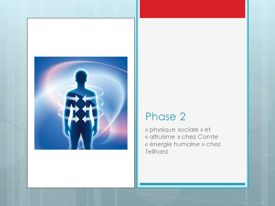 Phase 2 « physique sociale » et « altruisme » chez Comte