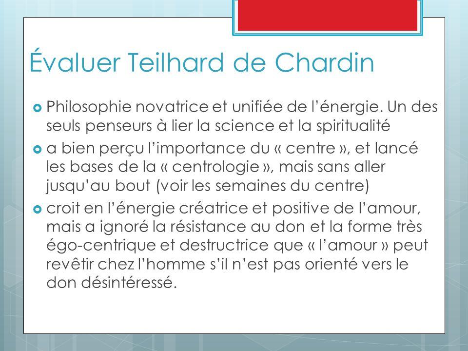 Évaluer Teilhard de Chardin