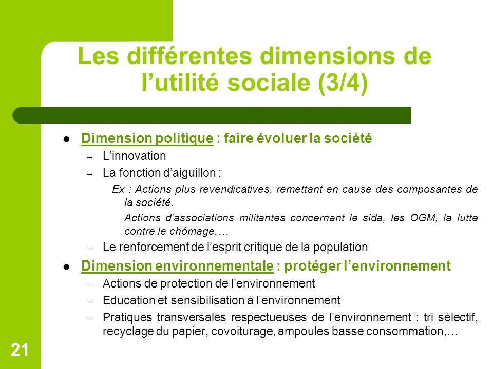 Les différentes dimensions de l'utilité sociale (3/4)