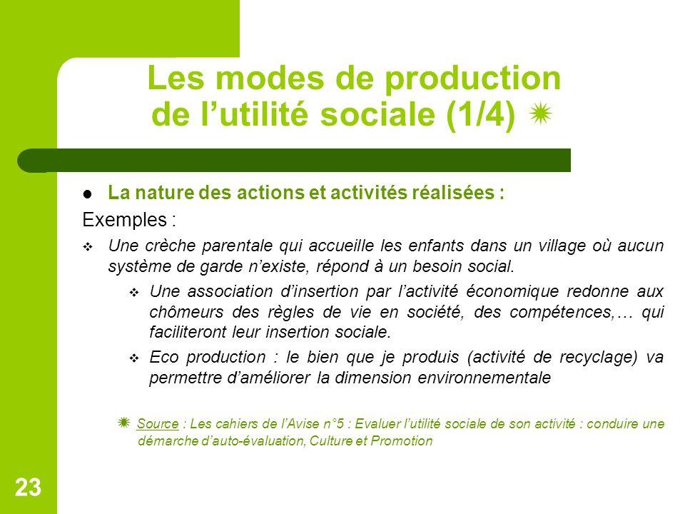 Les modes de production de l'utilité sociale (1/4) 