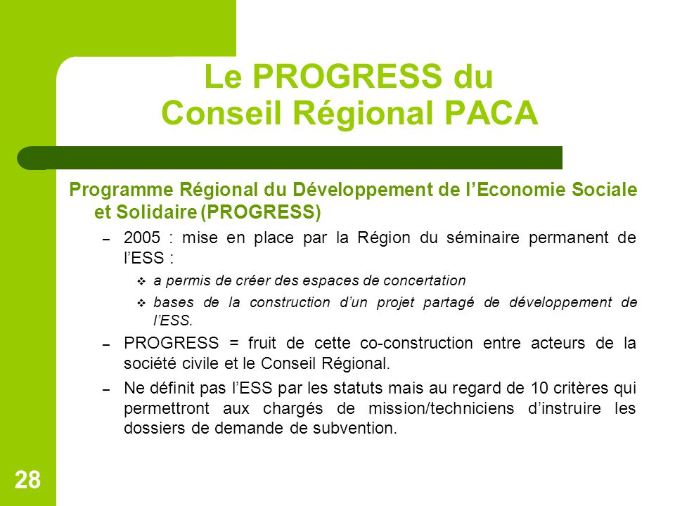 Le PROGRESS du Conseil Régional PACA