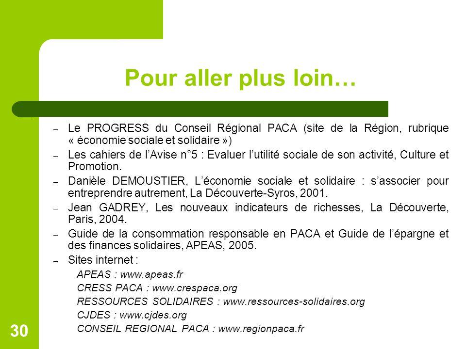 Pour aller plus loin… Le PROGRESS du Conseil Régional PACA (site de la Région, rubrique « économie sociale et solidaire »)
