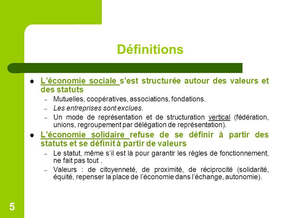 Définitions L'économie sociale s'est structurée autour des valeurs et des statuts. Mutuelles, coopératives, associations, fondations.