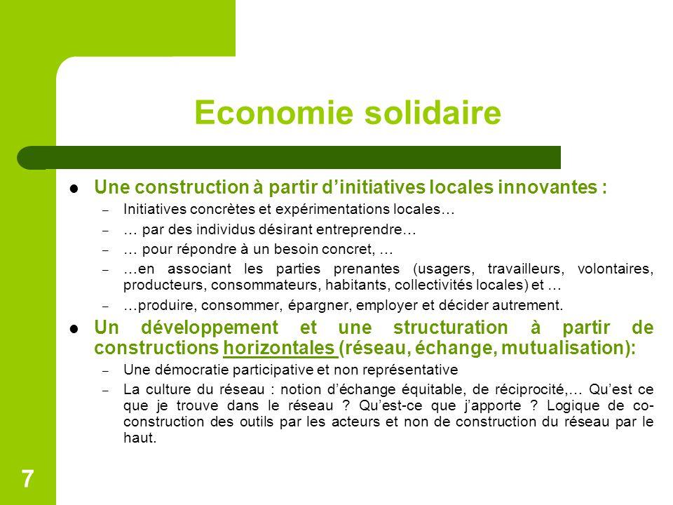 Economie solidaire Une construction à partir d'initiatives locales innovantes : Initiatives concrètes et expérimentations locales…