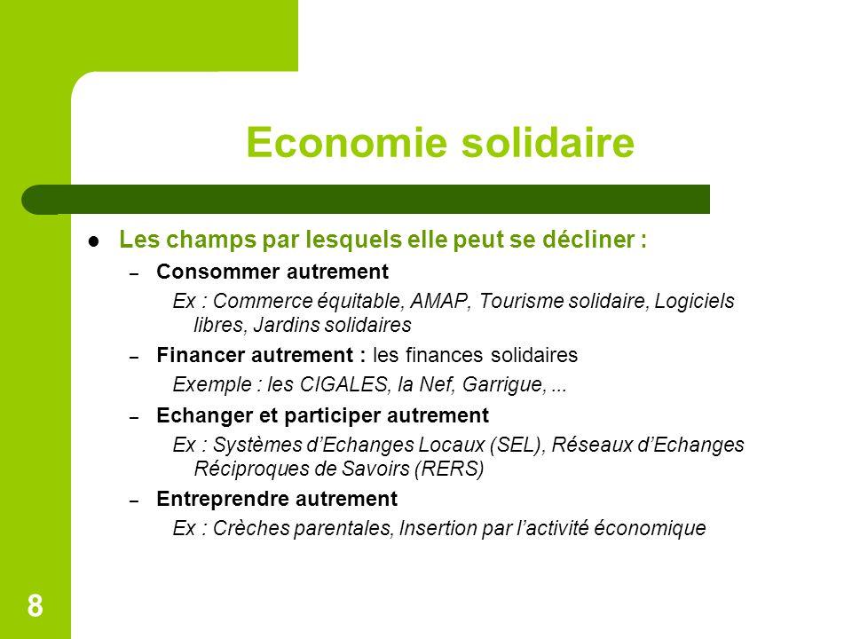 Economie solidaire Les champs par lesquels elle peut se décliner :