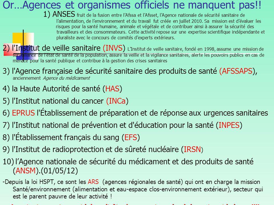 Or…Agences et organismes officiels ne manquent pas!!