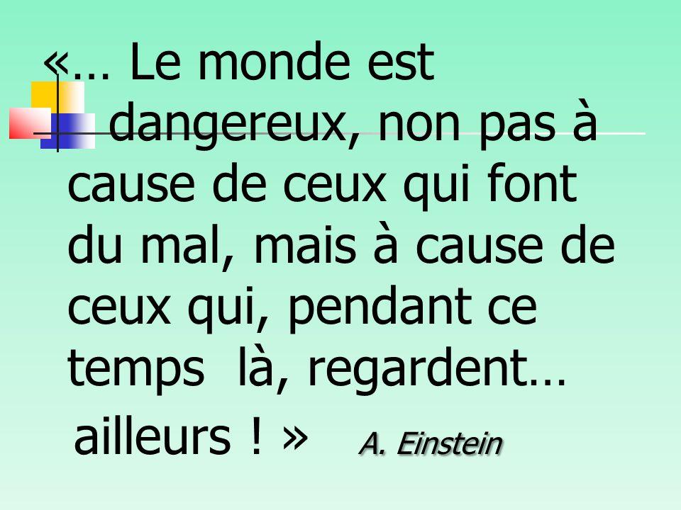 «… Le monde est dangereux, non pas à cause de ceux qui font du mal, mais à cause de ceux qui, pendant ce temps là, regardent… ailleurs .