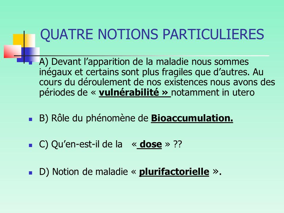 QUATRE NOTIONS PARTICULIERES
