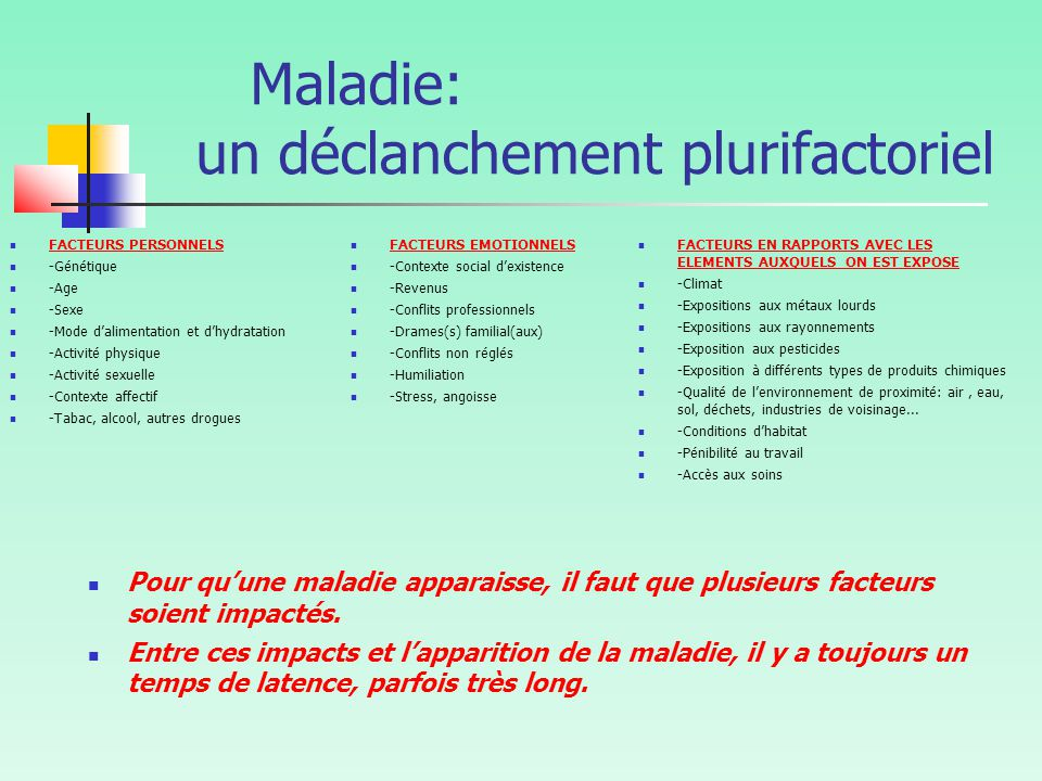 Maladie: un déclanchement plurifactoriel