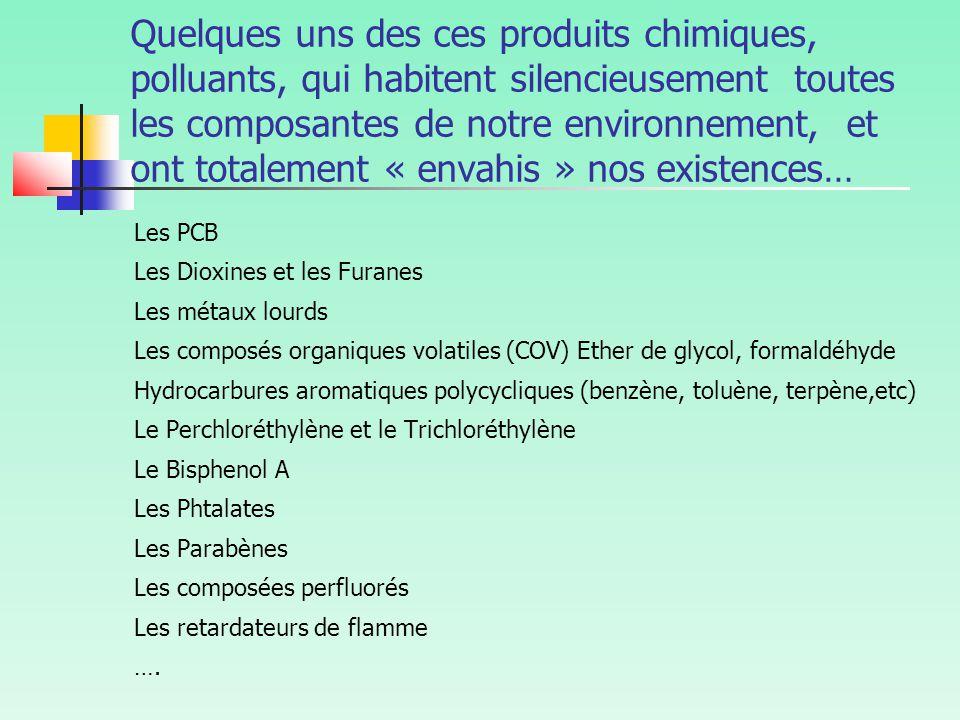 Quelques uns des ces produits chimiques, polluants, qui habitent silencieusement toutes les composantes de notre environnement, et ont totalement « envahis » nos existences…
