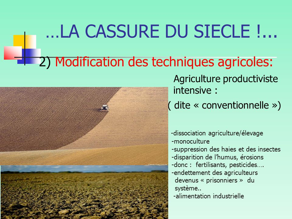…LA CASSURE DU SIECLE !... 2) Modification des techniques agricoles: