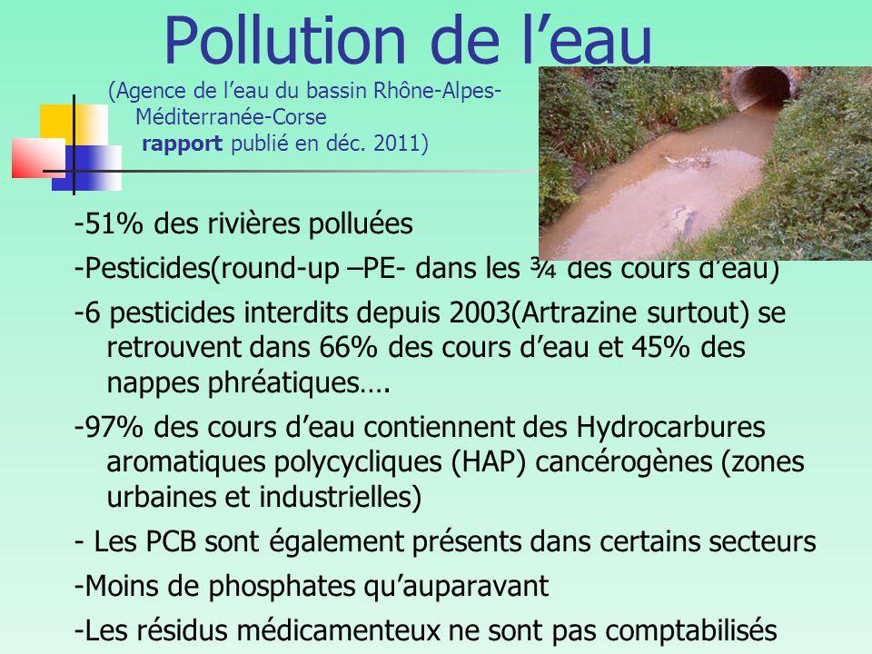 Pollution de l'eau (Agence de l'eau du bassin Rhône-Alpes- Méditerranée-Corse rapport publié en déc. 2011)