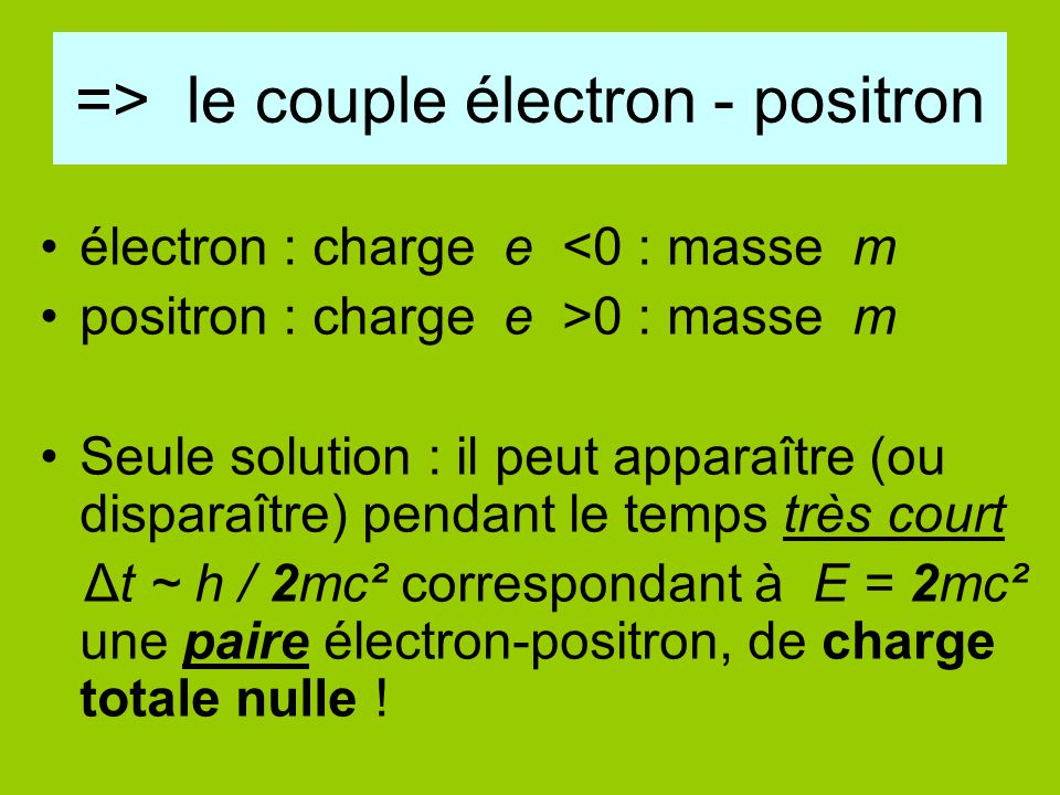 => le couple électron - positron