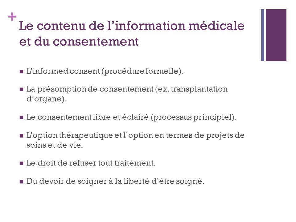Le contenu de l'information médicale et du consentement