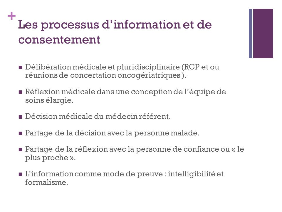 Les processus d'information et de consentement
