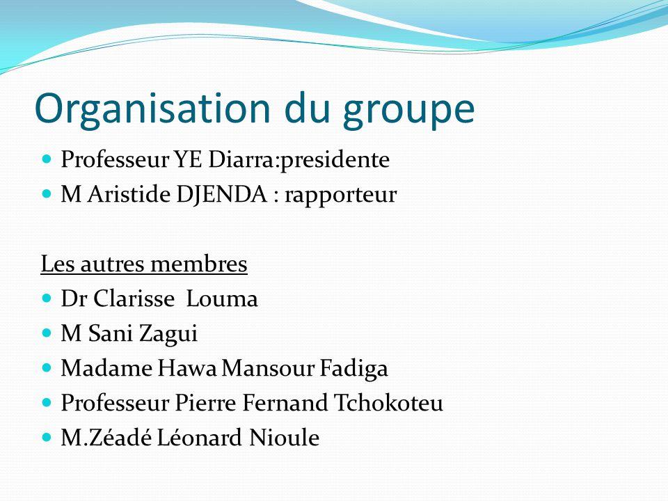 Organisation du groupe