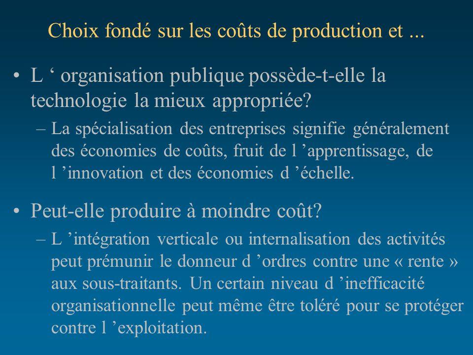 Choix fondé sur les coûts de production et ...