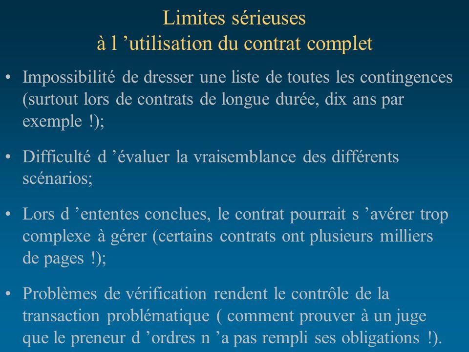 Limites sérieuses à l 'utilisation du contrat complet