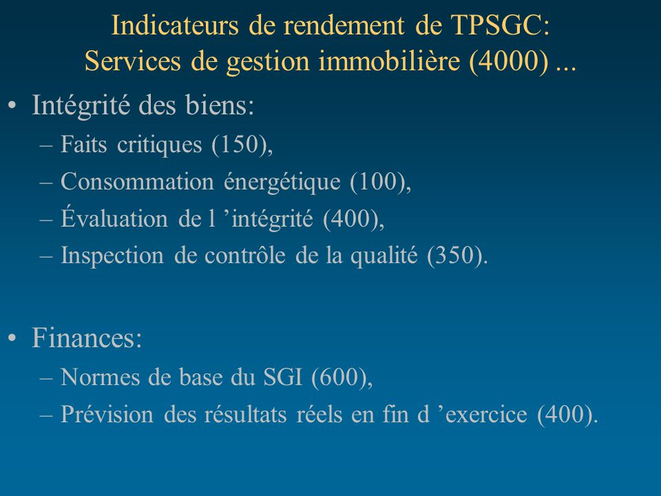 Indicateurs de rendement de TPSGC: Services de gestion immobilière (4000) ...